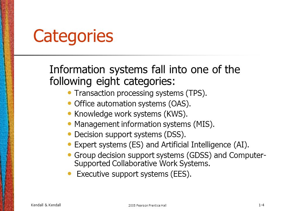 categories information systems fall into one of the following eight categories transaction processing systems