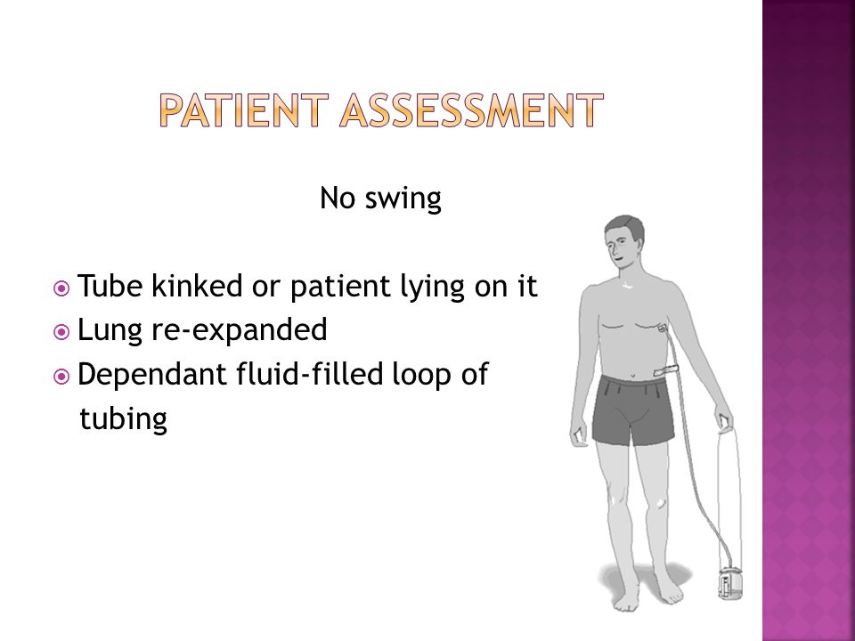 Patient assessment No swing Tube kinked or patient lying on it