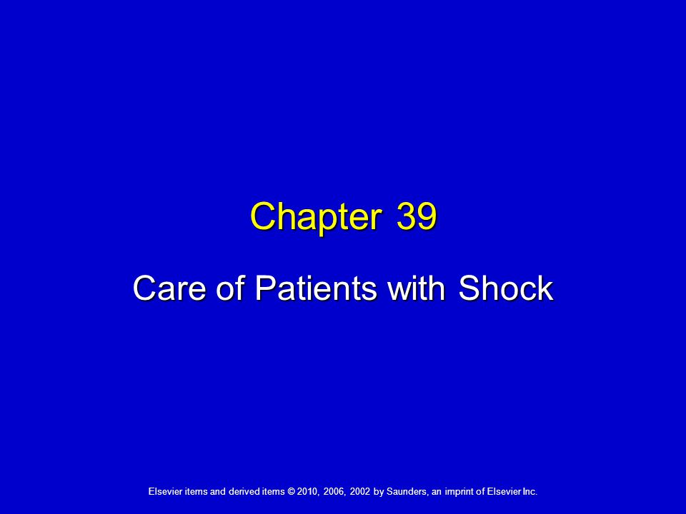 Care of Patients with Shock