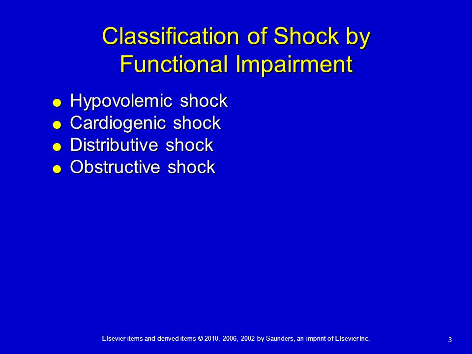 Classification of Shock by Functional Impairment