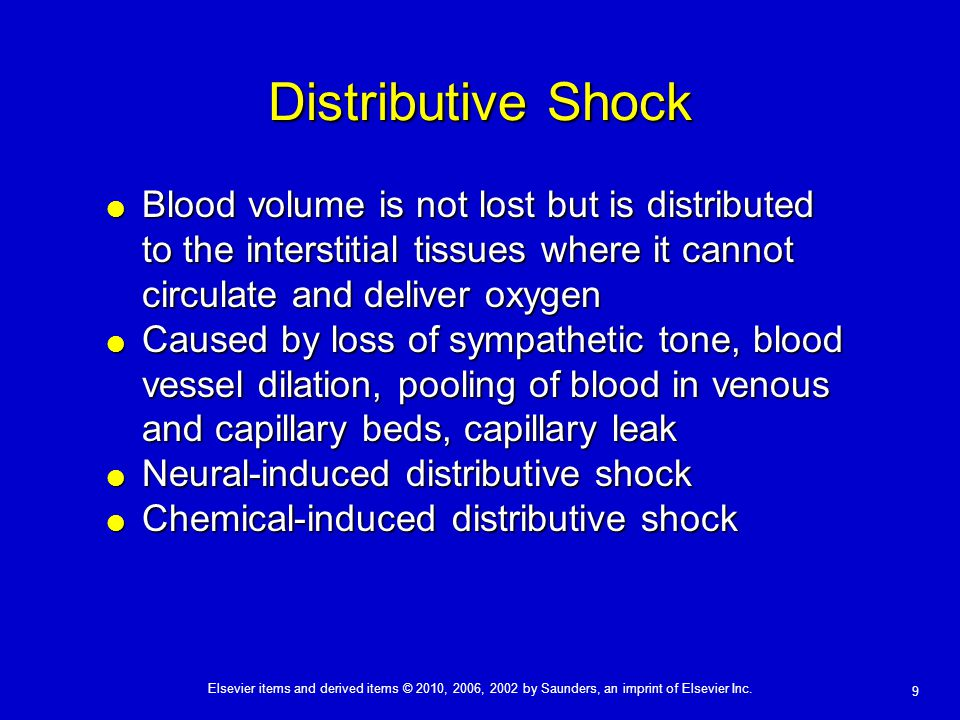 Distributive Shock Blood volume is not lost but is distributed to the interstitial tissues where it cannot circulate and deliver oxygen.