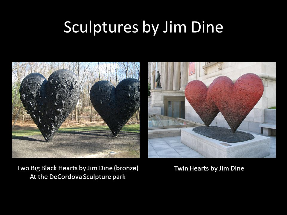 Sculptures by Jim Dine Two Big Black Hearts by Jim Dine (bronze)