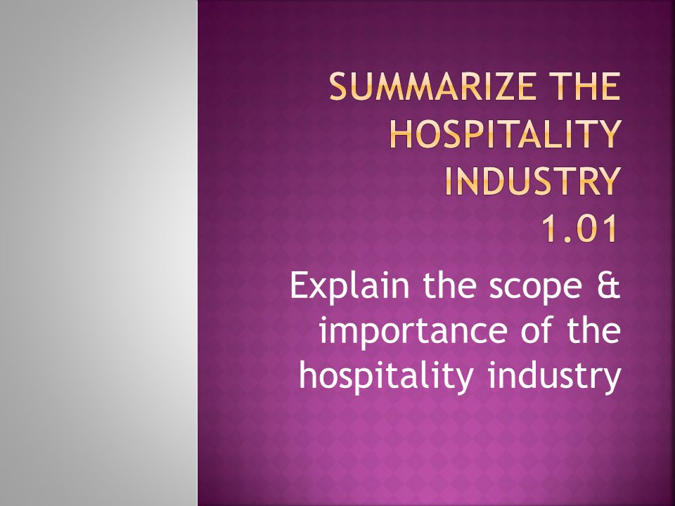 Summarize the hospitality Industry 1.01