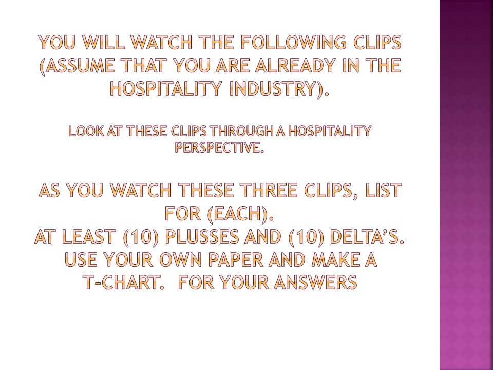 You will watch the following clips (assume that you are already in the hospitality industry).