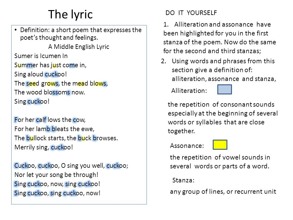 The french influence p 23 millennium ppt download the lyric do it yourself alliteration and assonance have solutioingenieria Choice Image