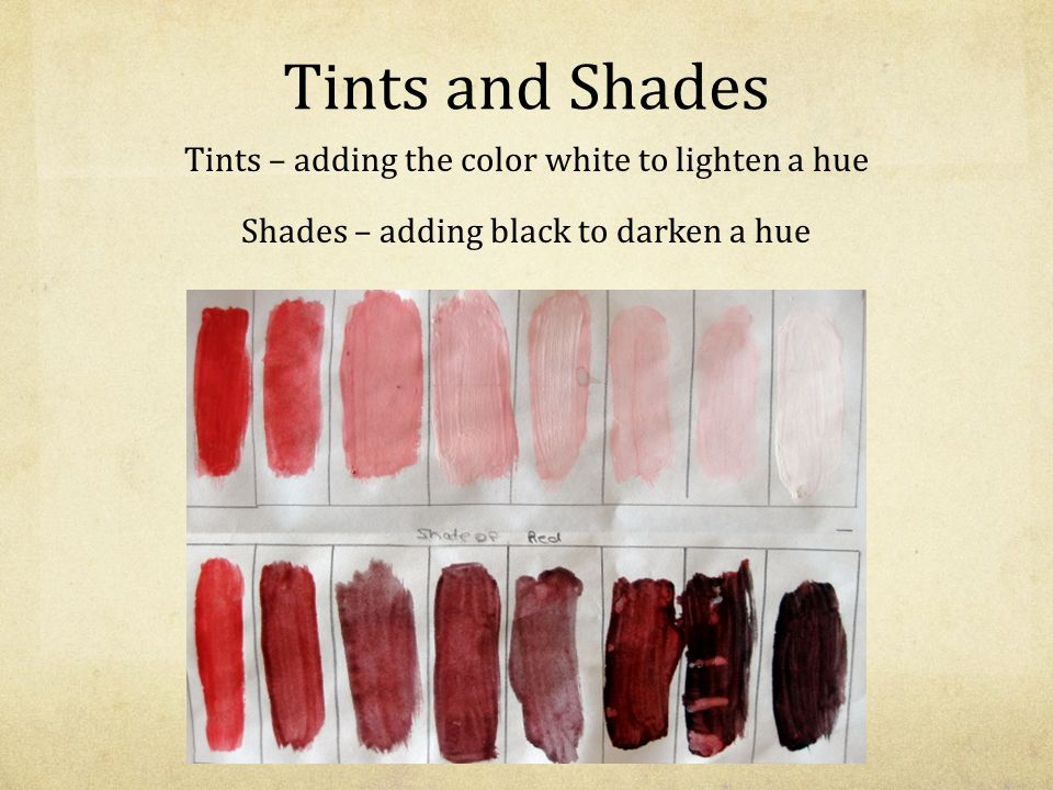 Tints and Shades Shades- adding the color black.