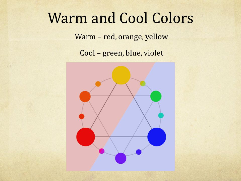 Warm – red, orange, yellow Cool – green, blue, violet