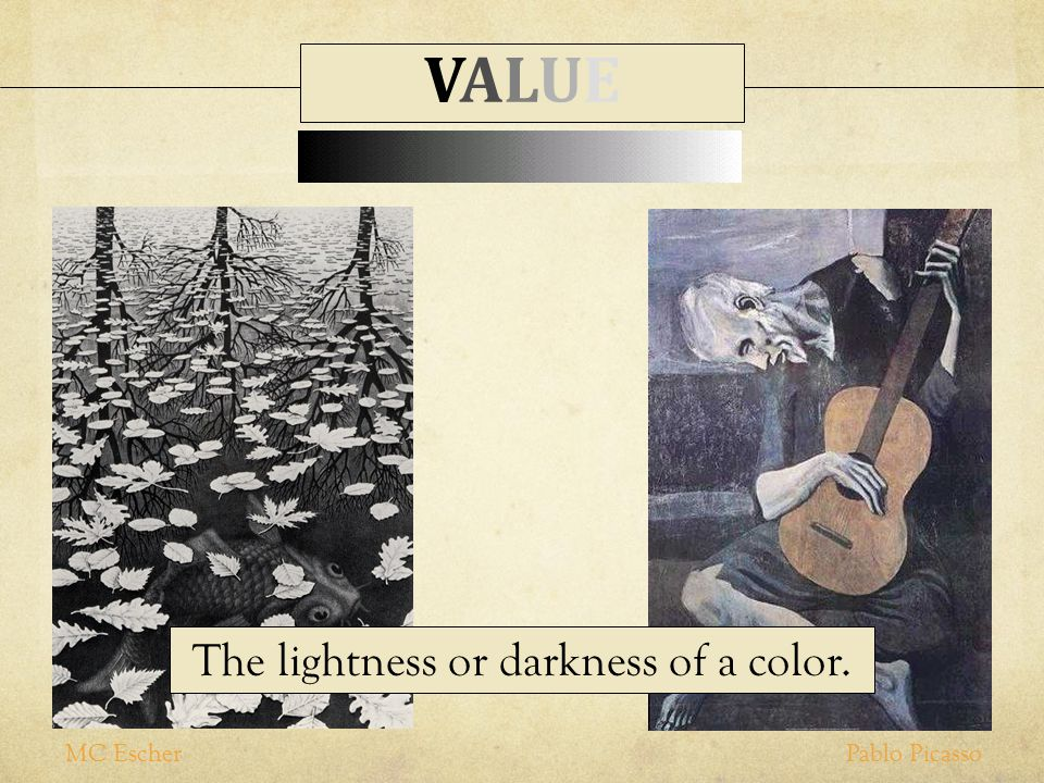 The lightness or darkness of a color.