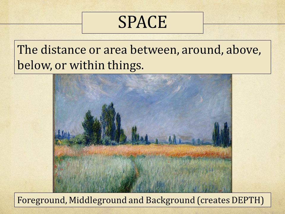 SPACE The distance or area between, around, above, below, or within things.