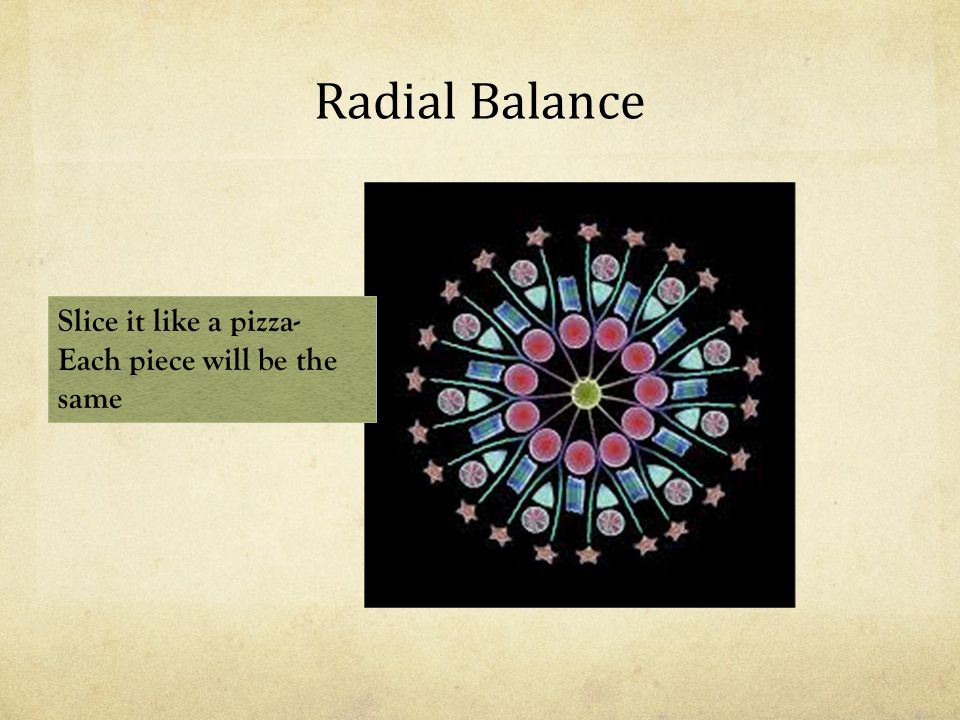 Radial Balance Slice it like a pizza- Each piece will be the same