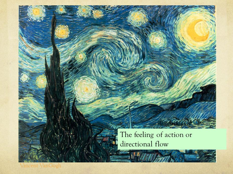 The feeling of action or directional flow