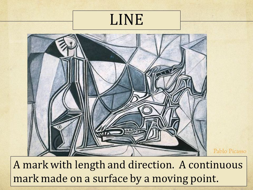 LINE Pablo Picasso. A mark with length and direction.