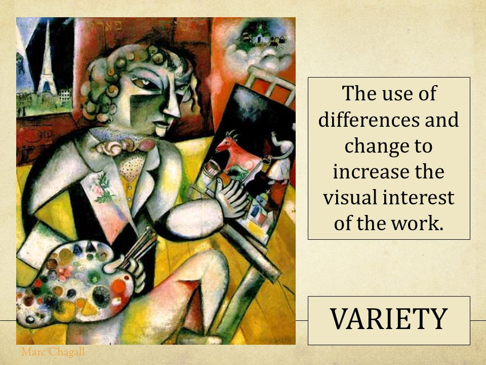 The use of differences and change to increase the visual interest of the work.