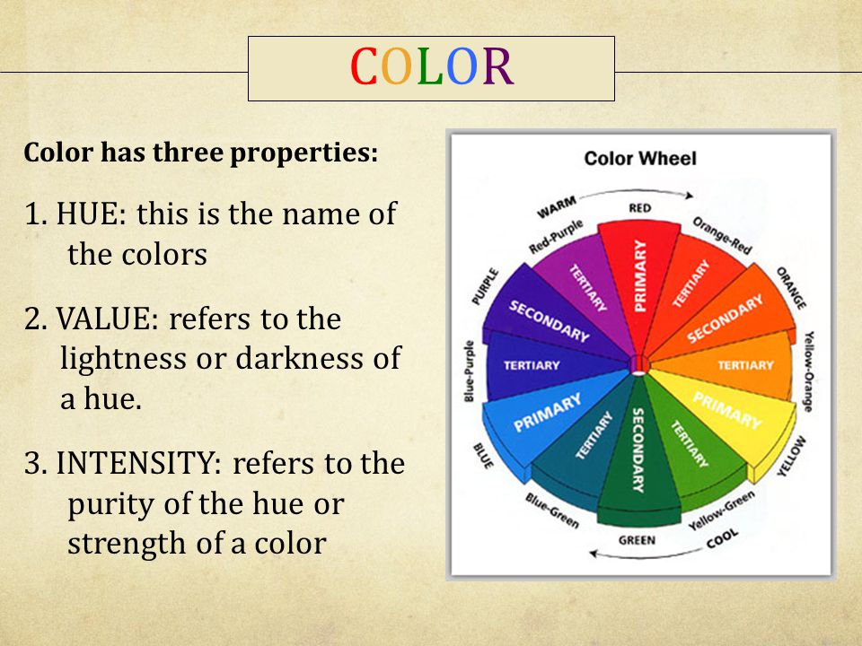 COLOR 1. HUE: this is the name of the colors
