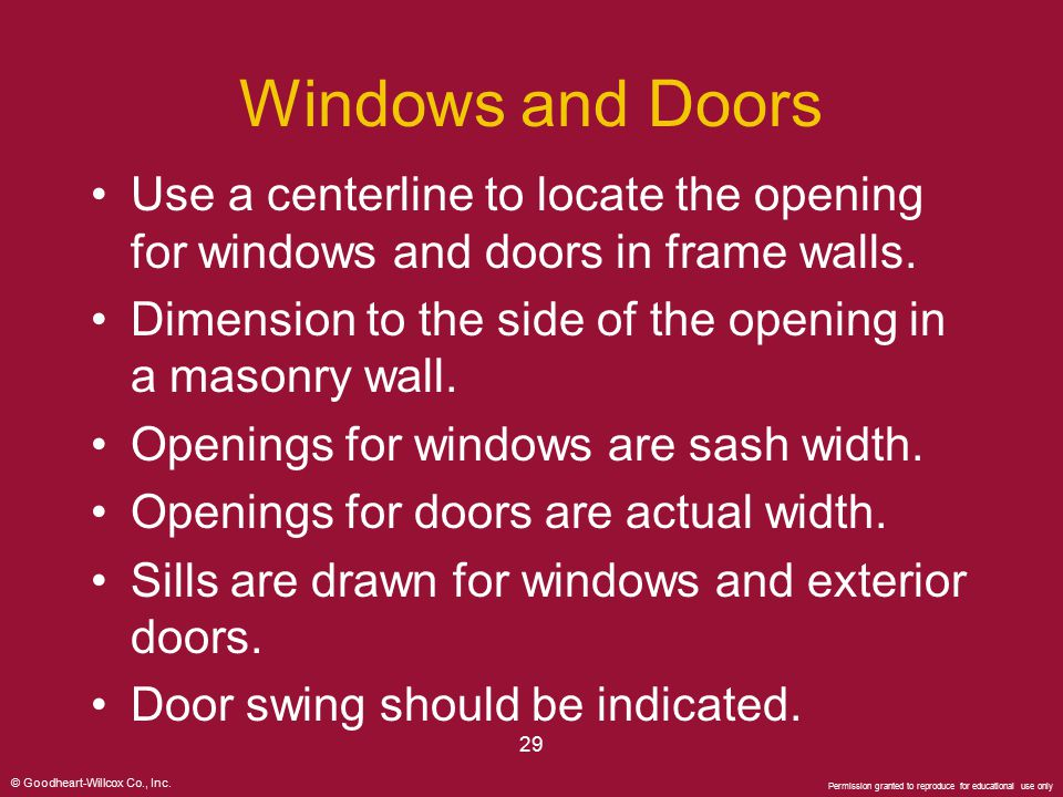 Windows and Doors Use a centerline to locate the opening for windows and doors in frame walls.