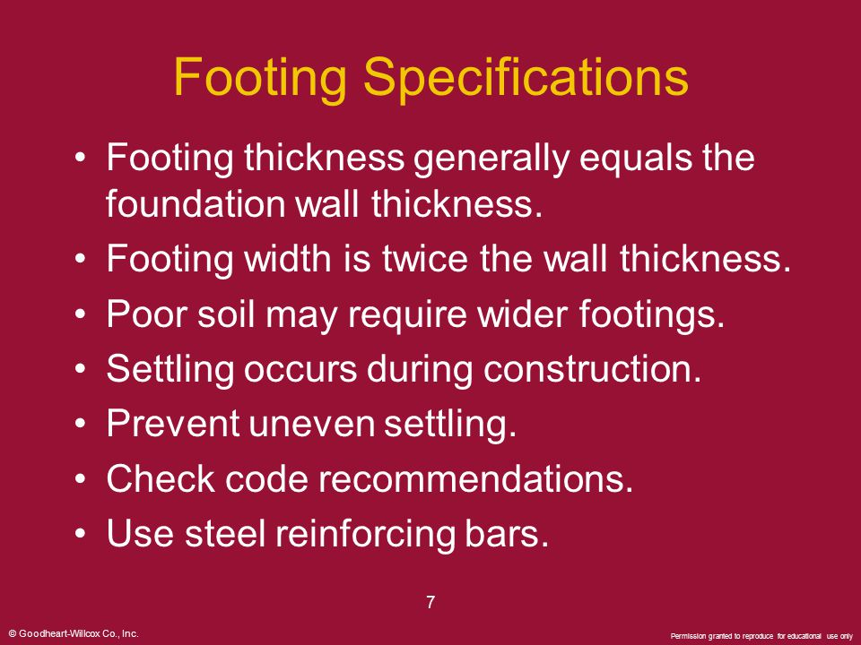 Footing Specifications