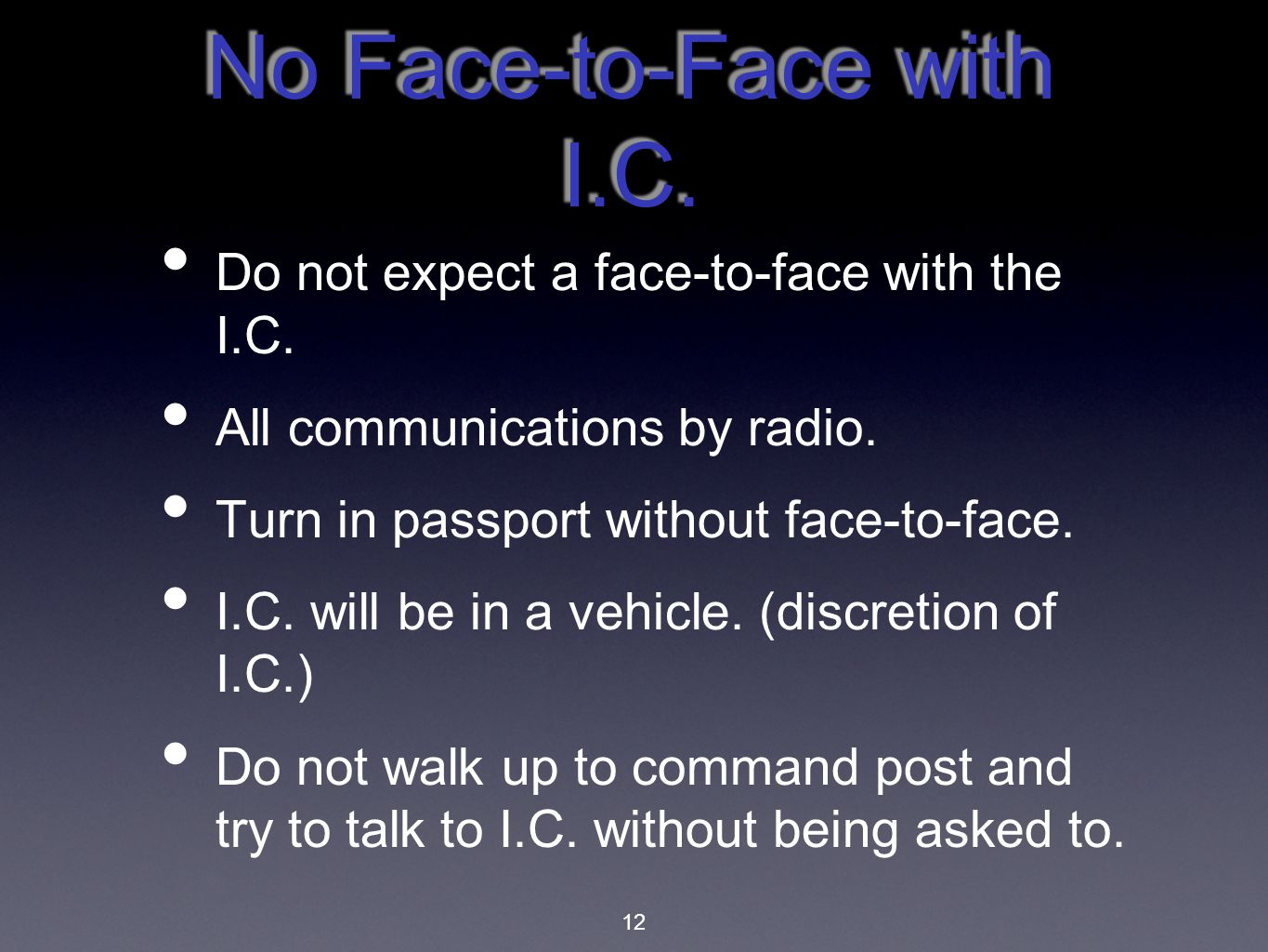 No Face-to-Face with I.C.
