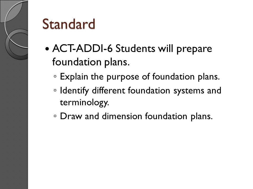 Standard ACT-ADDI-6 Students will prepare foundation plans.