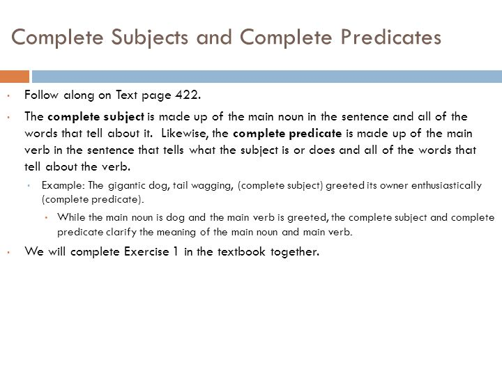 Composition 9 sentences ppt download 3 complete subjects and complete predicates m4hsunfo