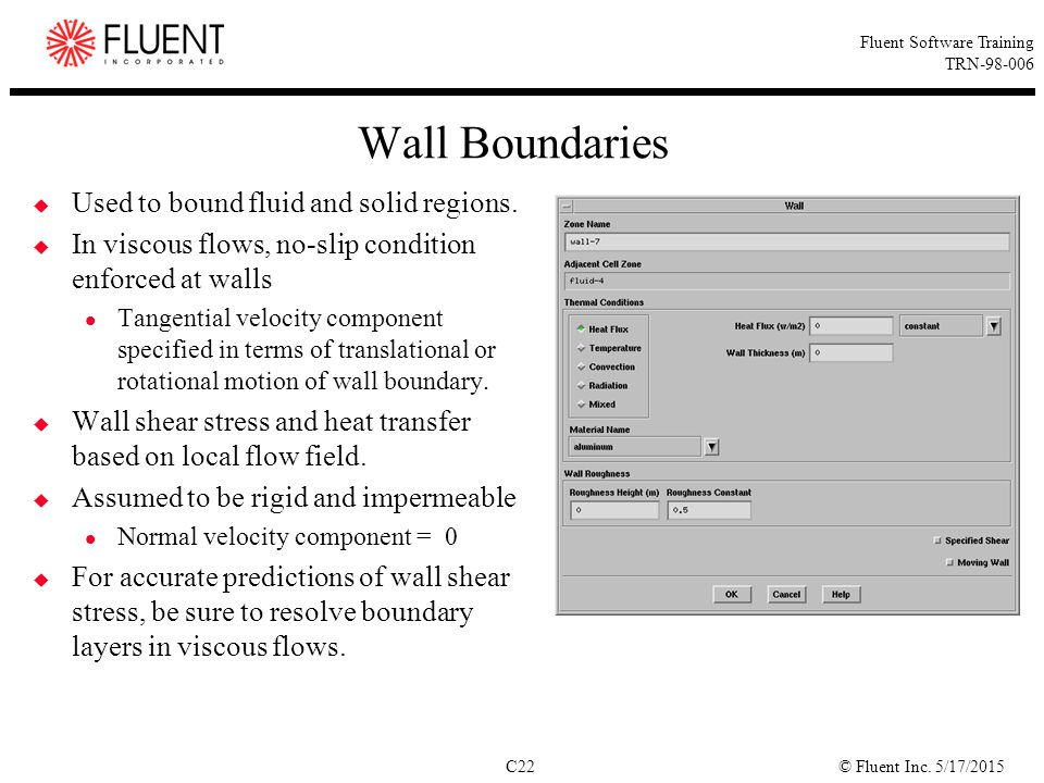 Wall Boundaries Used to bound fluid and solid regions.