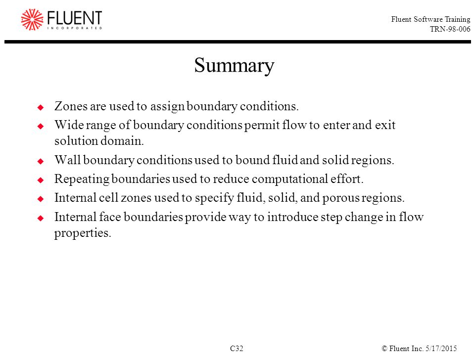Summary Zones are used to assign boundary conditions.