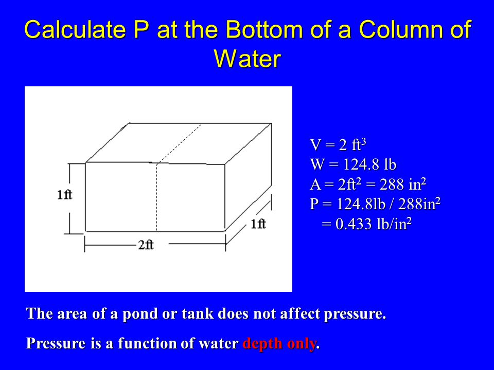 bottom Pressure of water at column of