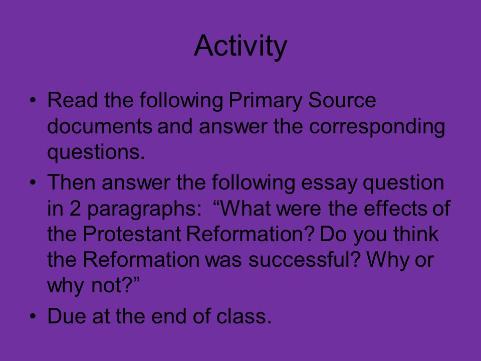 Thesis Statements For Essays  Activity  Science Essay Example also Critical Essay Thesis Statement The Protestant Reformation  Ppt Video Online Download Synthesis Essay