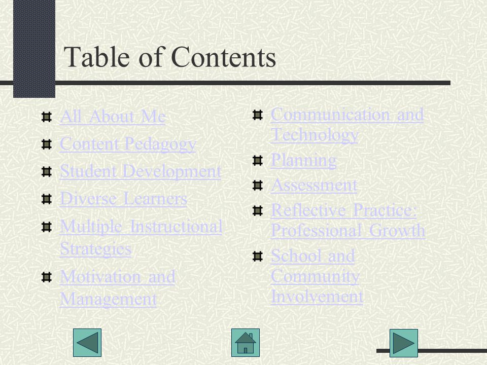 Table of Contents All About Me Content Pedagogy Student Development