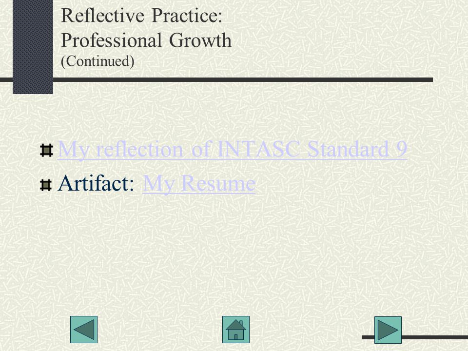 Reflective Practice: Professional Growth (Continued)‏