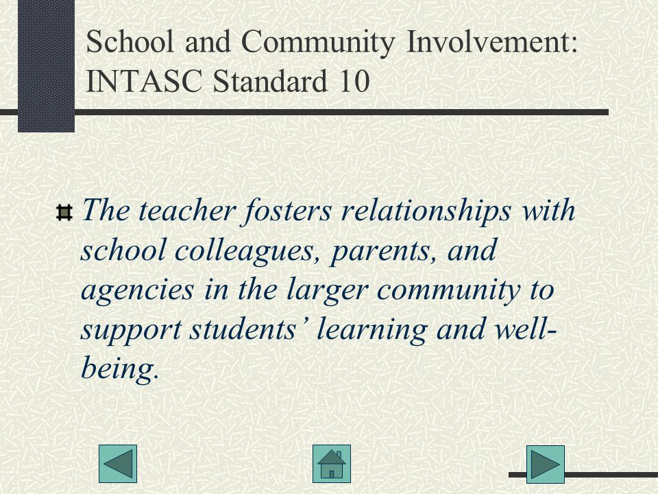 School and Community Involvement: INTASC Standard 10