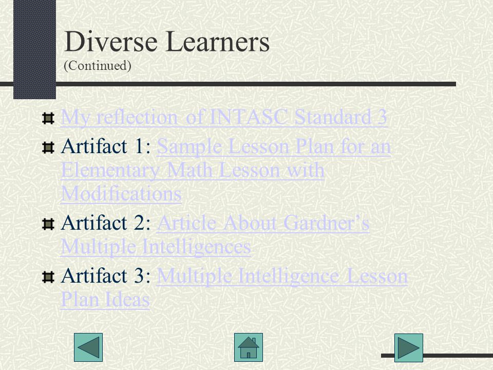 Diverse Learners (Continued)‏