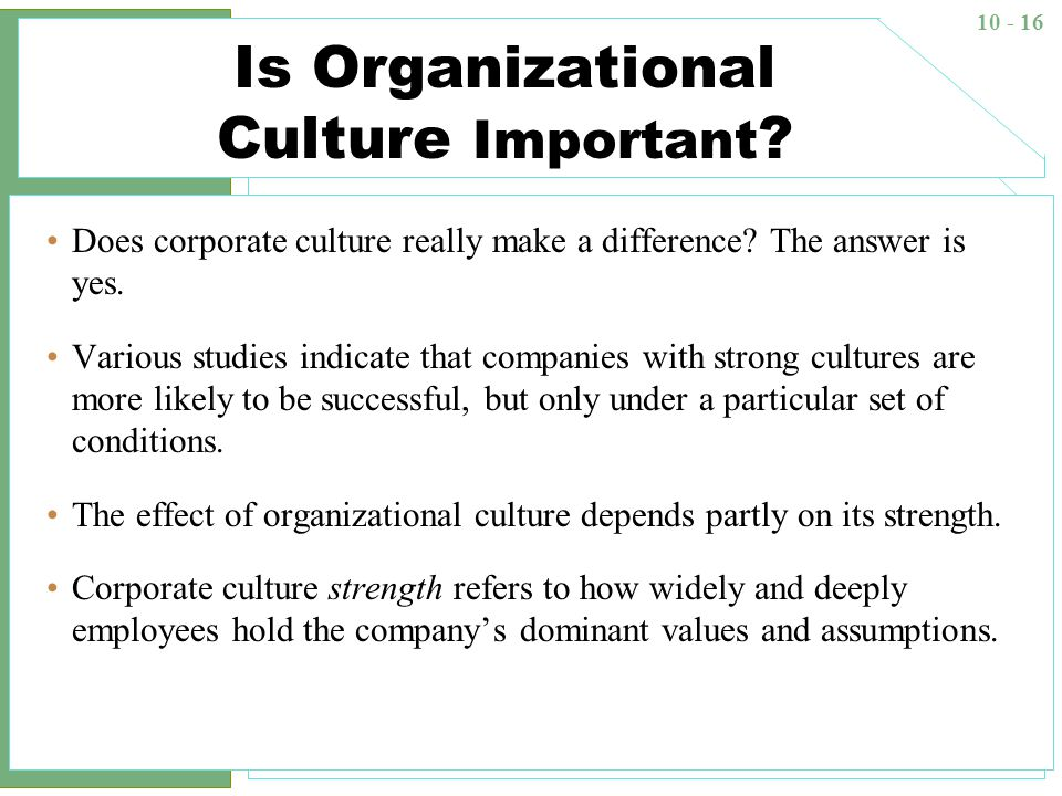 organizational culture and its importance Importance of organizational behavior managers need an understanding of organizational behavior because a large part of their job has to do with exactly that the organizational culture at wound management has been established over the 20 year period since its inception in 1994.