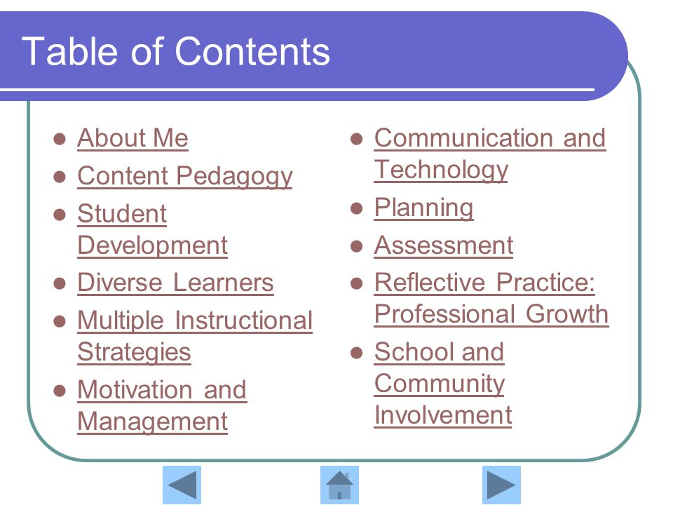 Table of Contents About Me Content Pedagogy Student Development