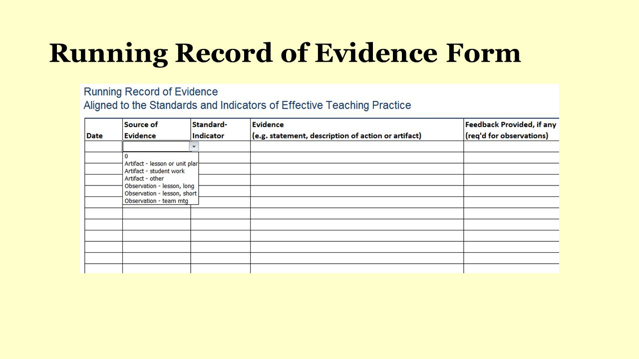 Running Record of Evidence Form