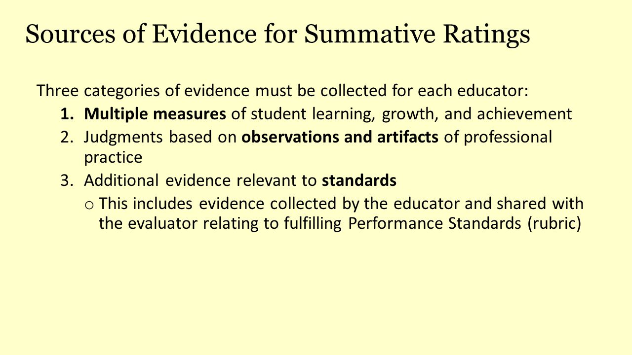 Sources of Evidence for Summative Ratings