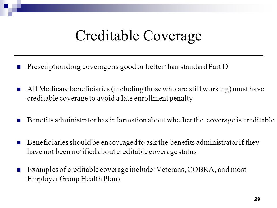 29 creditable coverage prescription