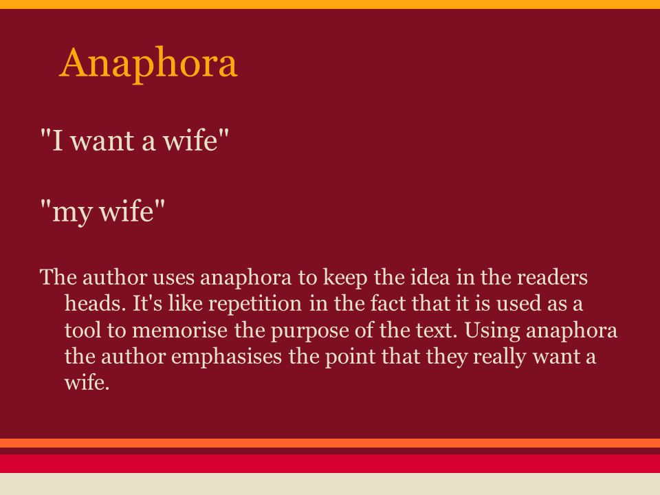 Why I Want A Wife A Satirical Essay By Judy Brady  Ppt Video  Anaphora I Want A Wife My Wife Do My Computer Science Assignment also Argumentative Essay Thesis Examples  Essay About Healthy Eating