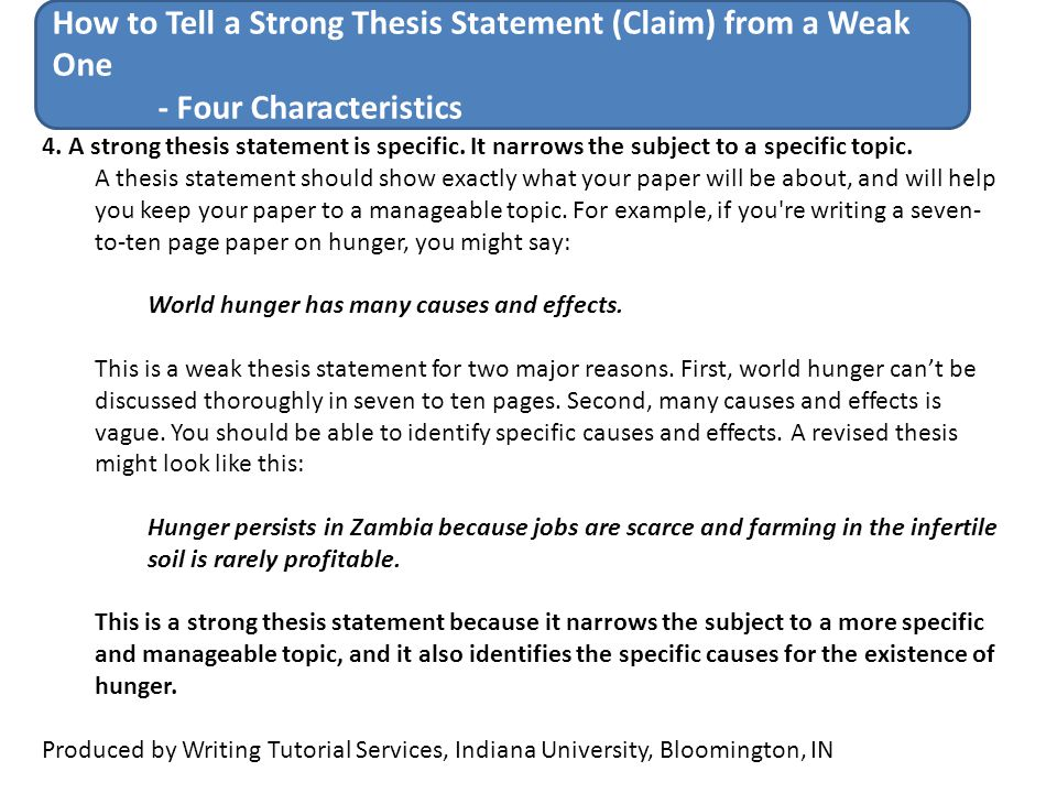 How To Tell A Strong Thesis Statement Claim From A Weak One Ppt