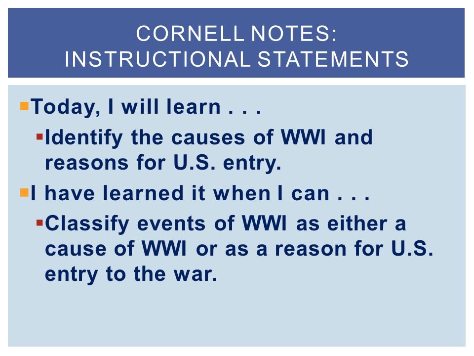 Cornell Notes: instructional statements