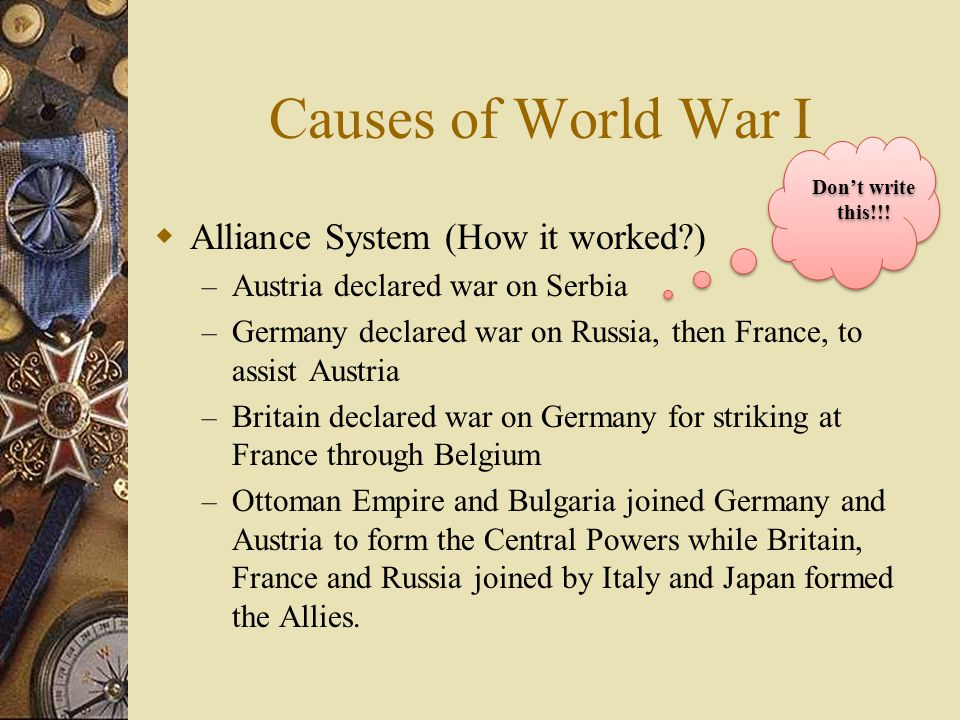 Causes of World War I Alliance System (How it worked )