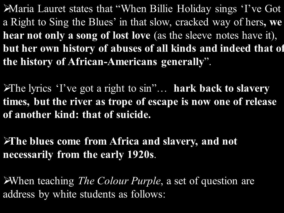 Lyric color purple lyrics : Alice Walker: The Color Purple, ppt video online download