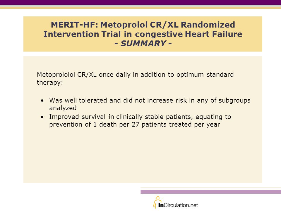 Metoprololol CR/XL once daily in addition to optimum standard therapy:
