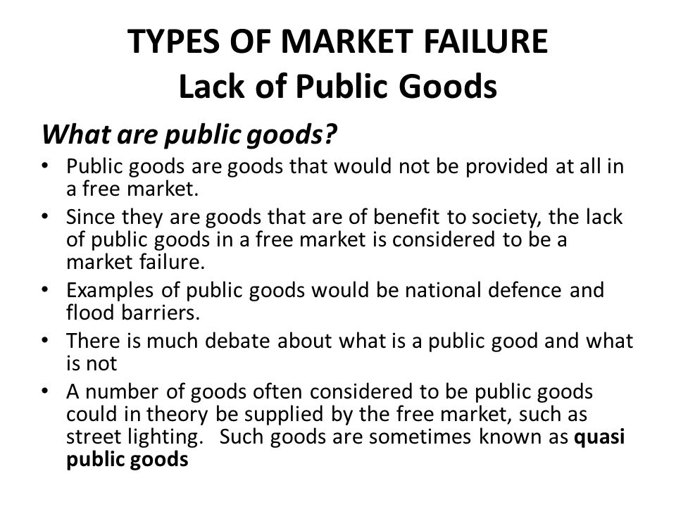 different causes of market failure