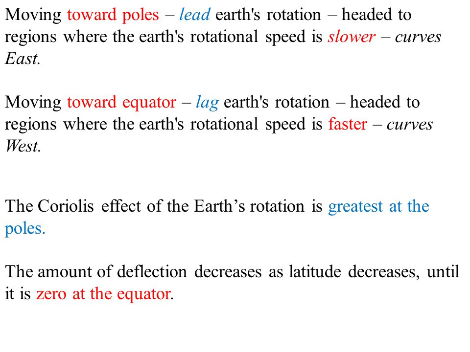 Moving toward poles – lead earth s rotation – headed to regions where the earth s rotational speed is slower – curves East.