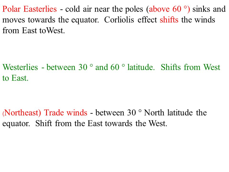 Westerlies - between 30 ° and 60 ° latitude. Shifts from West to East.