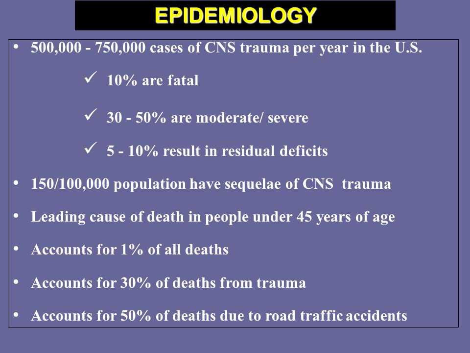 EPIDEMIOLOGY 500, ,000 cases of CNS trauma per year in the U.S. 10% are fatal % are moderate/ severe.