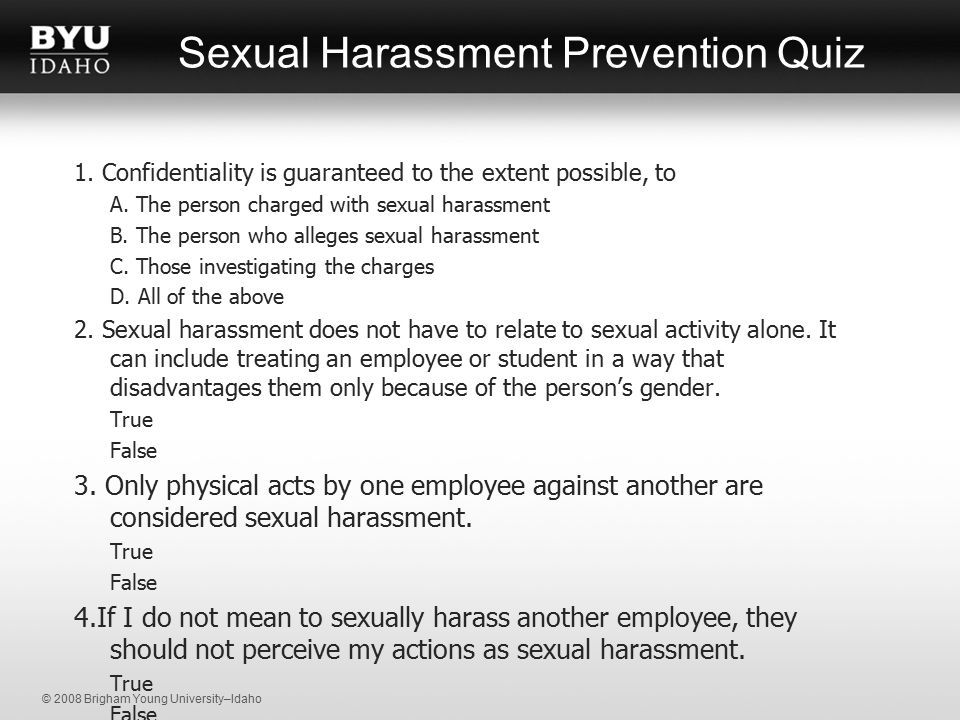 Sexual harassment definition quiz and answers