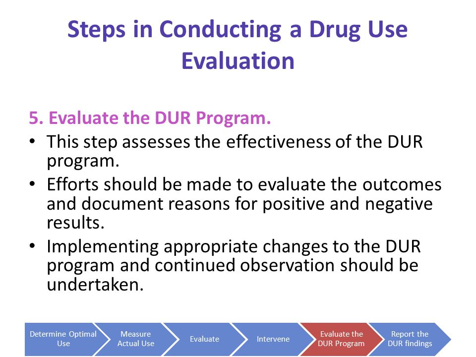 Steps in Conducting a Drug Use Evaluation