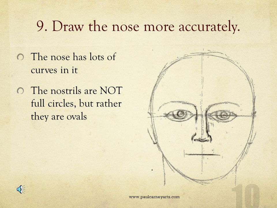 9. Draw the nose more accurately.