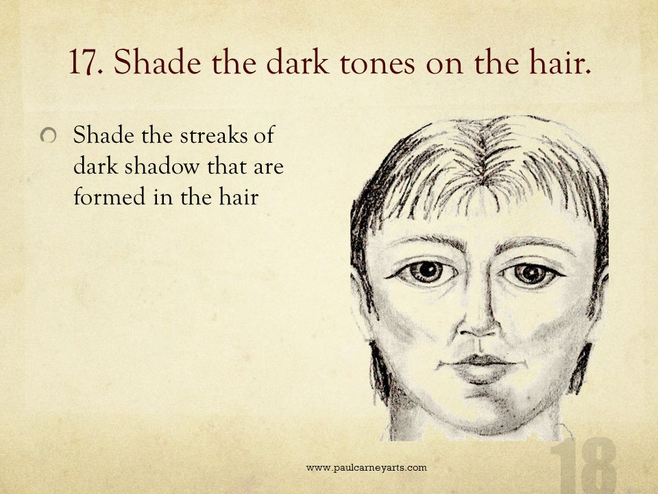 17. Shade the dark tones on the hair.
